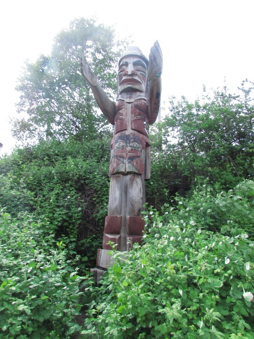 Totem poles tell a story if read from the bottom up.