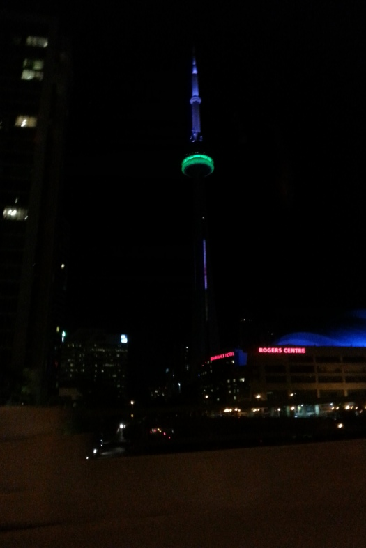 The CN tower, as it looked on my first night in Toronto